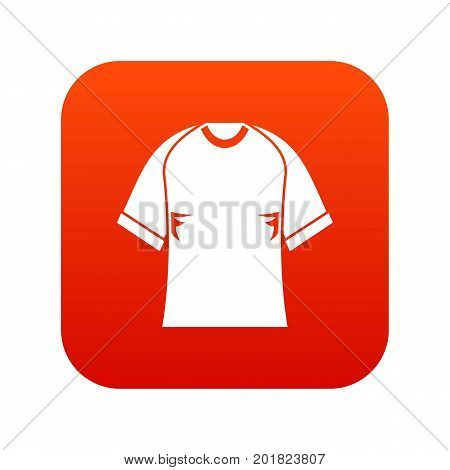 Raglan tshirt icon digital red for any design isolated on white vector illustration