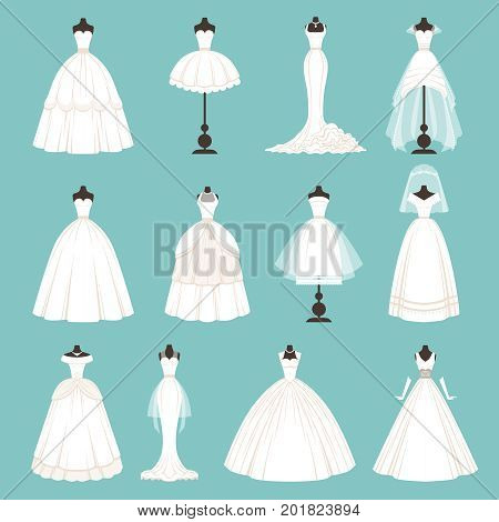 Different styles of brides dresses. Vector illustration in cartoon style. Fashion design dress bridal with veil