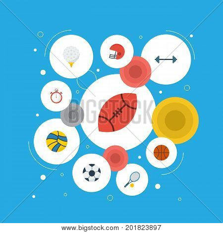Flat Icons Kettlebells, Basket, Rugby And Other Vector Elements