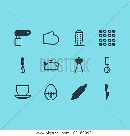 Editable Pack Of Oven Mitts, Teakettle, Kitchen Dagger And Other Elements.  Vector Illustration Of 12 Restaurant Icons.