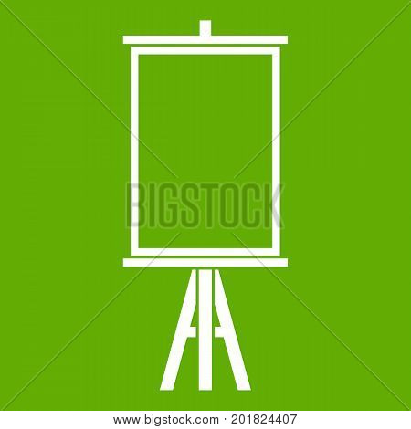 Easel icon white isolated on green background. Vector illustration