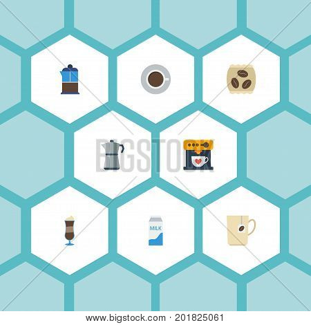 Flat Icons Moka Pot, Paper Box, Coffeemaker And Other Vector Elements