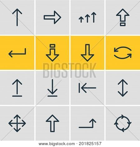 Editable Pack Of Submit, Upwards, Shrift And Other Elements.  Vector Illustration Of 16 Arrows Icons.