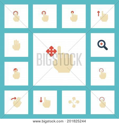 Flat Icons Finger, Swipe, Down And Other Vector Elements