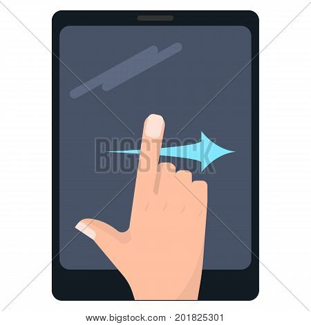 Swipe right touch screen gestures on tablet vector illustration. Flat style design. Colorful graphics