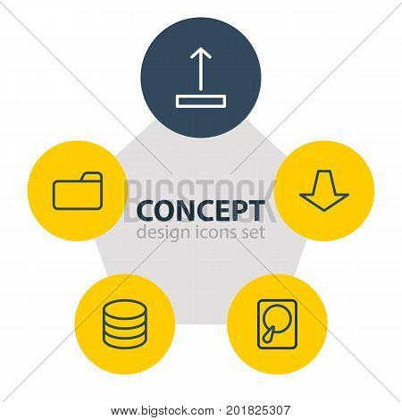 Editable Pack Of Dossier, Arrow Up, Datacenter And Other Elements.  Vector Illustration Of 5 Archive Icons.