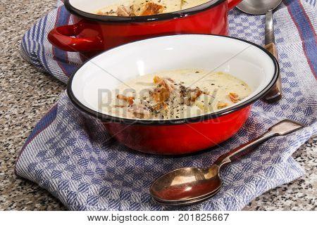 traditional irish fish chowder with crushed pepper corn