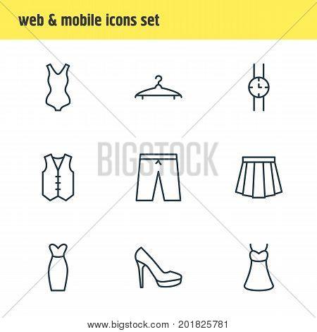 Editable Pack Of Sandal, Evening Dress, Waistcoat Elements.  Vector Illustration Of 9 Garment Icons.