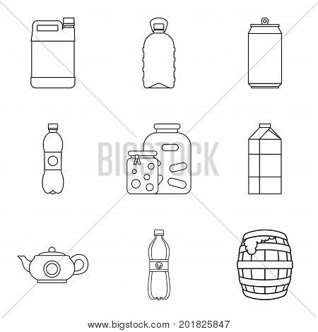 Draft beer icons set. Outline set of 9 draft beer vector icons for web isolated on white background