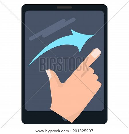 Flick right touch screen gestures on tablet vector illustration. Flat style design. Colorful graphics