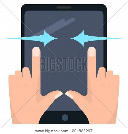 Horizontal pinch touch screen gesture on tablet vector illustration. Flat style design. Colorful graphics