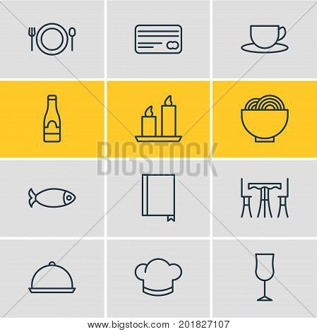 Editable Pack Of Bowl, Fire Wax, Alcohol And Other Elements.  Vector Illustration Of 12 Cafe Icons.