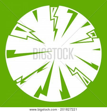 Dangerous planet icon white isolated on green background. Vector illustration