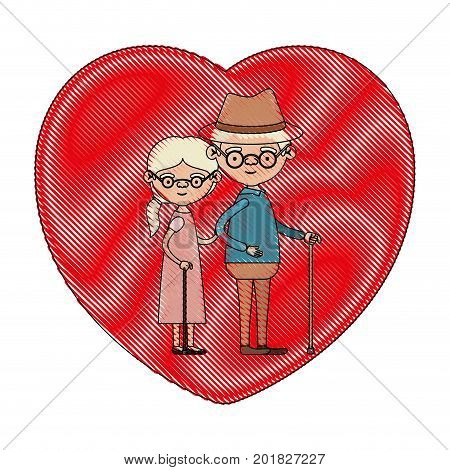 color crayon silhouette of heart shape greeting card with caricature full body elderly couple embraced grandfather with hat and moustache in walking stick and grandmother with collected hair vector illustration