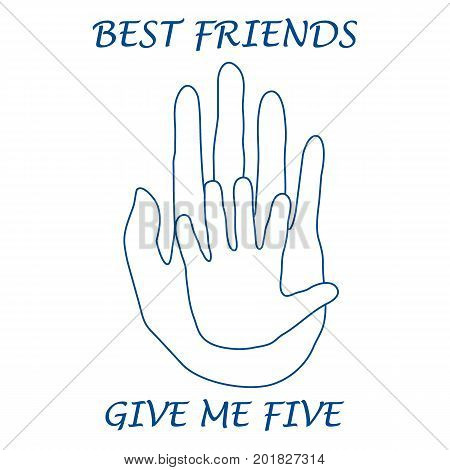 Cute vector illustration of two hands adult and child giving a five. Friends forever. Design for banner poster or print.
