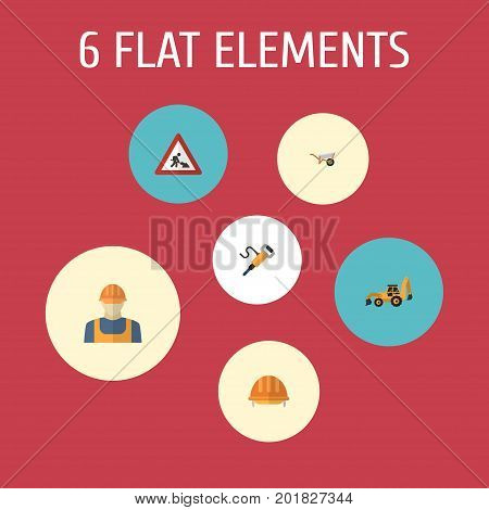 Set Of Construction Flat Icons Symbols Also Includes Tractor, Equipment, Handcart Objects.  Flat Icons Pneumatic, Worker, Handcart Vector Elements.