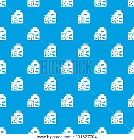 Jars with pickled vegetables and jam pattern repeat seamless in blue color for any design. Vector geometric illustration