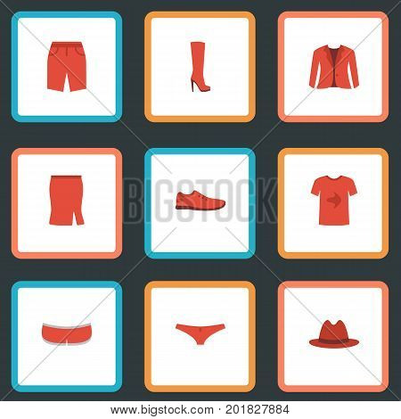 Flat Icons Gumshoes, Fedora, Shorts And Other Vector Elements