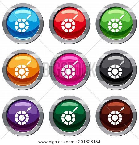 Color picker set icon isolated on white. 9 icon collection vector illustration