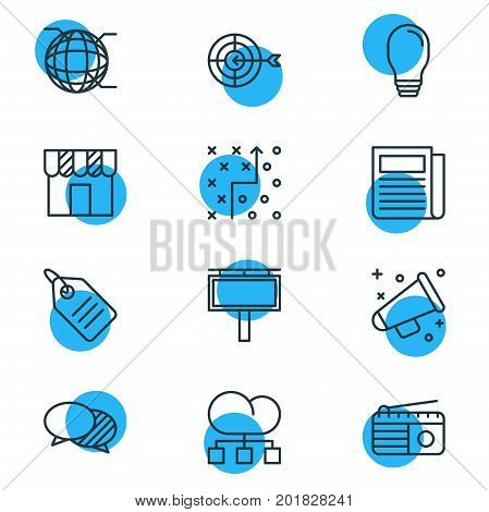 Editable Pack Of Cloud Distribution, Advertising Billboard, Fm Broadcasting And Other Elements.  Vector Illustration Of 12 Advertising Icons.