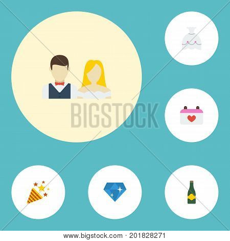 Flat Icons Brilliant, Wedding Gown, Couple And Other Vector Elements