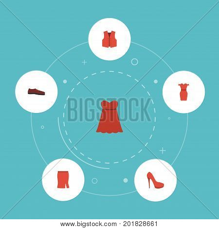 Flat Icons Heeled Shoe, Sundress, Waistcoat And Other Vector Elements