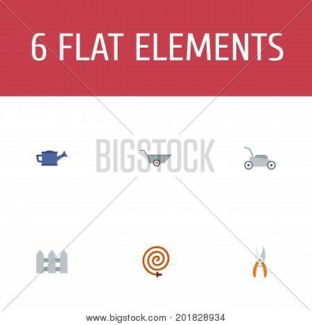 Flat Icons Pruner, Wheelbarrow, Garden Hose And Other Vector Elements