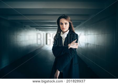 Beautiful Lonely Woman In A Subway Tunnel