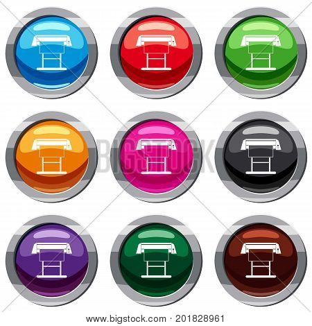 Large format inkjet printer set icon isolated on white. 9 icon collection vector illustration