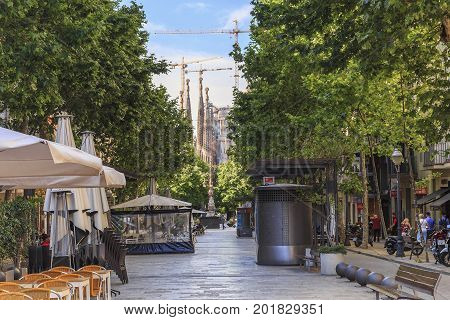 BARCELONA, SPAIN - MAY 12, 2017: This is Gaudi Avenue which connects two masterpieces of modernism between Sagrada Familia and Sant Pau Art Nouveau Site.