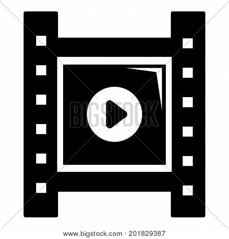 Play film strip icon. Simple illustration of film strip vector icon for web