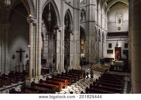 MADRID, SPAIN - MAY 24, 2017: This is interior of main nave of the Cathedral of Santa Maria la Real de la Almudena.