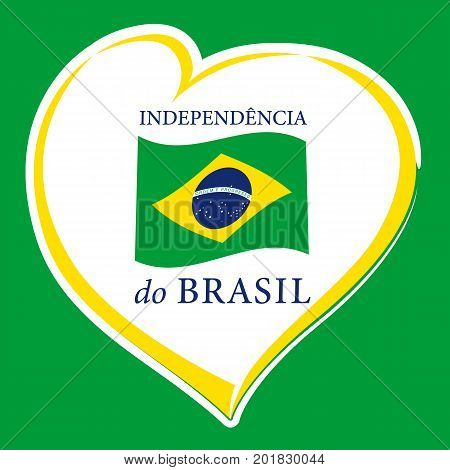 Love Brazil emblem colored. Independence day of Brazil vector yellow heart and national flag on green background
