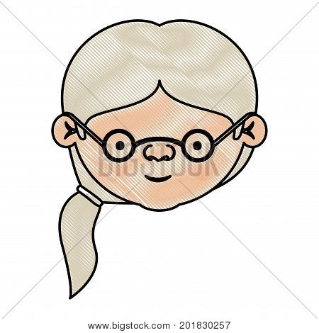 color crayon silhouette of face elderly woman with glasses and side ponytail hairstyle vector illustration