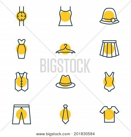 Editable Pack Of Hand Clock, Casual, Waistcoat Elements.  Vector Illustration Of 12 Dress Icons.