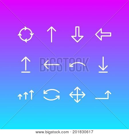 Editable Pack Of Upwards, Submit, Undo And Other Elements.  Vector Illustration Of 12 Direction Icons.