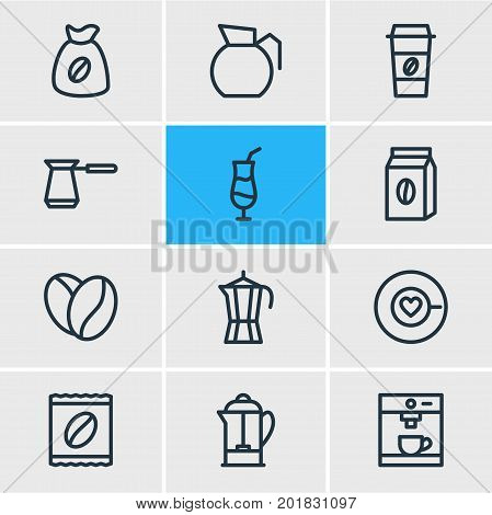 Editable Pack Of Turkish, Package Latte, Mocha And Other Elements.  Vector Illustration Of 12 Java Icons.