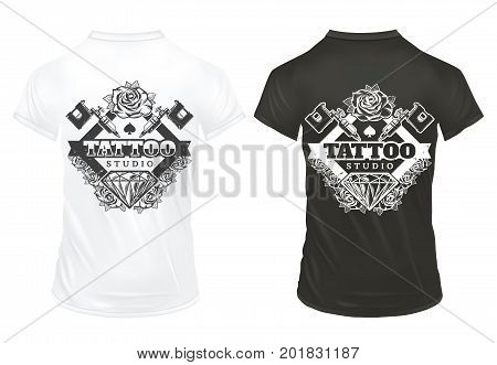 Vintage tattoo studio logos with inscription machine diamond roses printing on white and black shirts isolated vector illustration
