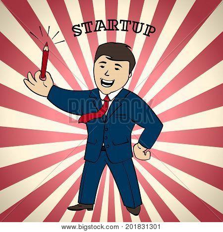 Startup banner man with pencil eureka idea sign vector illustration