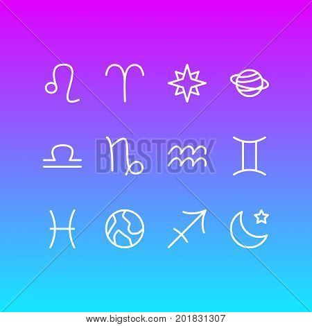 Editable Pack Of Favorite, Fishes, Twins And Other Elements.  Vector Illustration Of 12 Constellation Icons.