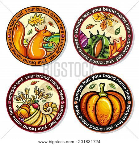 Vector set of Seasonal Autumn round drink coasters for cold hot beverages. Cartoon fall designs for bar pub coffee shop to place tea mug or beer bottle. Leaves nuts squirrel cornucopia pumpkin