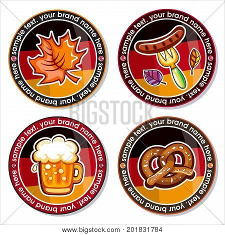 Oktoberfest set of round drink coasters for beer mugs, and other beverages. Munich brewers hat, Beer glass with German flag, pretzels, Bavarian pattern. Vector icons on white background
