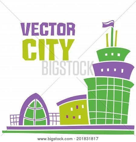 Simple fantastic house Vector city lettering. Use it for Exterior construction designs including city buildings. Beautiful modern cottage and colorful cityscape. Isolated on a white background