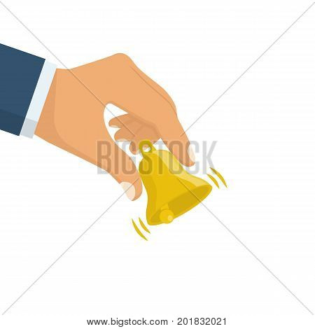 Man is holding small yellow bell in hand. Service bell. Customer at reception. Vector illustration flat design. Isolated on white background.