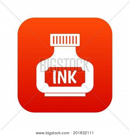 Black ink bottle icon digital red for any design isolated on white vector illustration