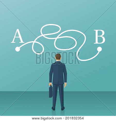 Businessman in suit standing in front of tangled paths. Complicated drawing line from point A to point B on wall. Concept problems solutions. Vector illustration flat design. Isolated on background.