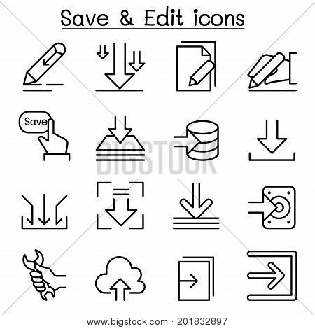 Save & Edit Data icon set in thin line style