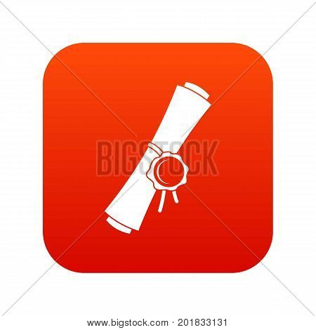 Old rolled paper with a red wax seal icon digital red for any design isolated on white vector illustration