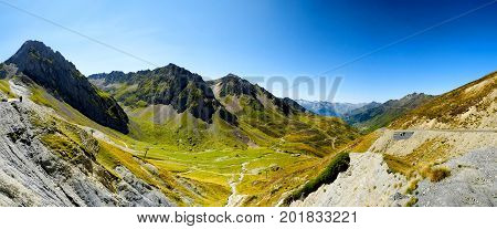 view of Col du Tourmalet (Hautes Pyrenees France)