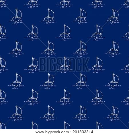 Seamless Travel Pattern with Sailing Ship, Maritime Tourism Concept , Line Style Design, Vector Illustration